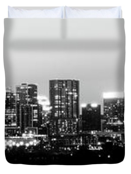 Black And White Panoramic View Of Downtown Austin Duvet Cover