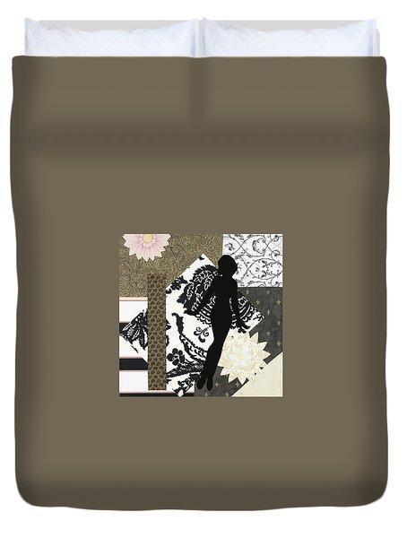 Black And White Paper Doll Duvet Cover
