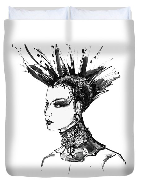 Duvet Cover featuring the digital art Black And White Punk Rock Girl by Marian Voicu