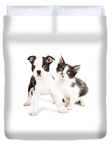 Black And White Puppy And Kitten Together Duvet Cover
