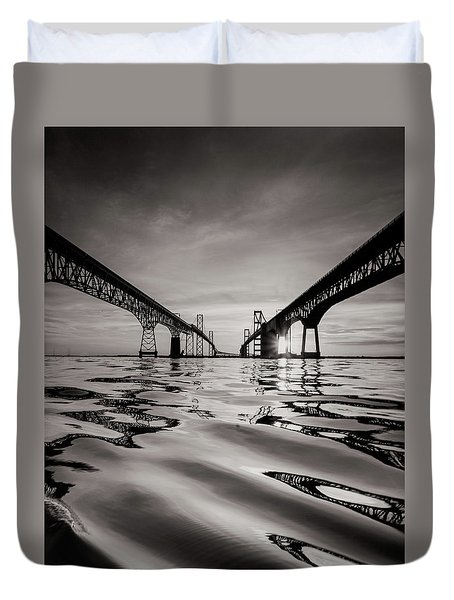 Black And White Reflections Duvet Cover