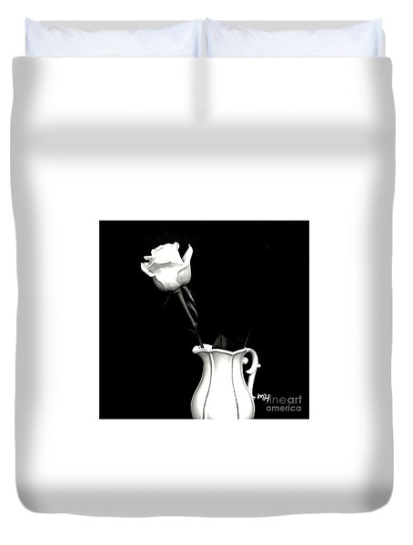 Duvet Cover featuring the photograph Black And White Rose Three by Marsha Heiken