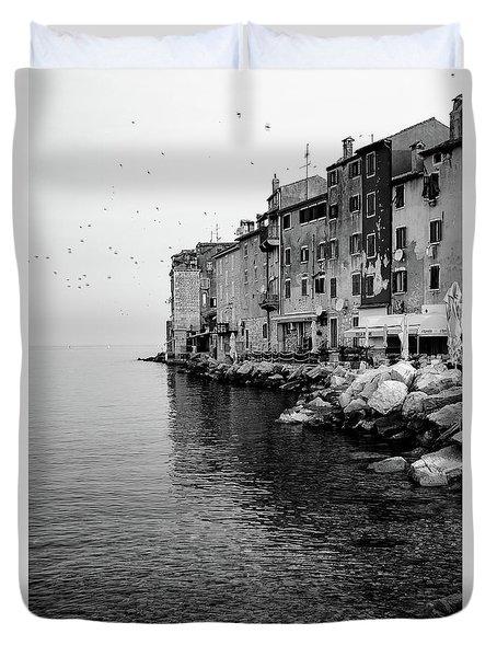 Black And White - Rovinj Venetian Buildings And Adriatic Sea, Istria, Croatia Duvet Cover