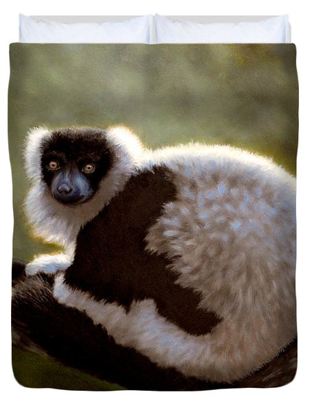 Black And White Ruffed Lemur Duvet Cover