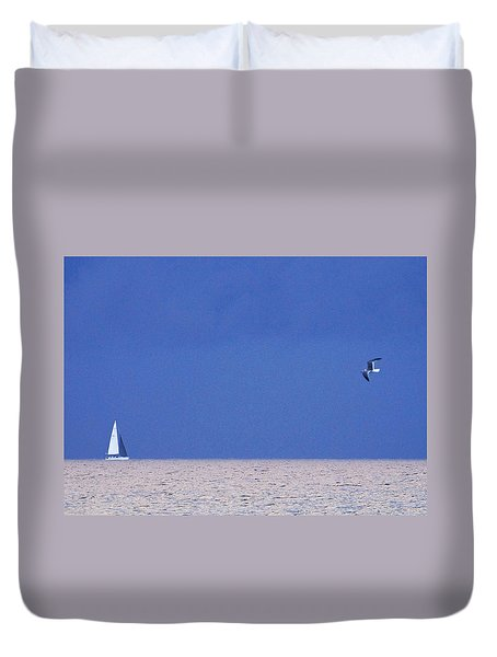 Black And White Sailboat And Seagull Duvet Cover