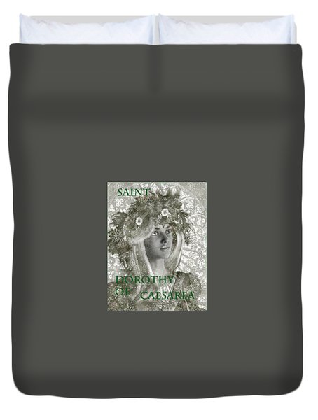 Black And White Saint Dorothy Duvet Cover by Suzanne Silvir