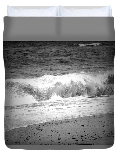 Black And White Shoreline  Duvet Cover