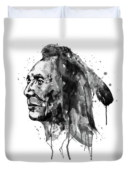 Duvet Cover featuring the mixed media Black And White Sioux Warrior Watercolor by Marian Voicu