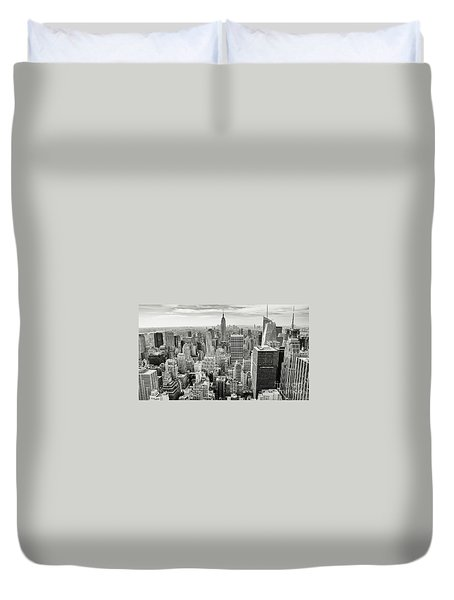 Duvet Cover featuring the photograph Black And White Skyline by MGL Meiklejohn Graphics Licensing