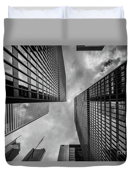 Duvet Cover featuring the photograph Black And White Skyscraper by MGL Meiklejohn Graphics Licensing