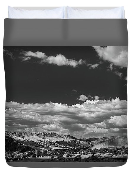Black And White Small Town  Duvet Cover