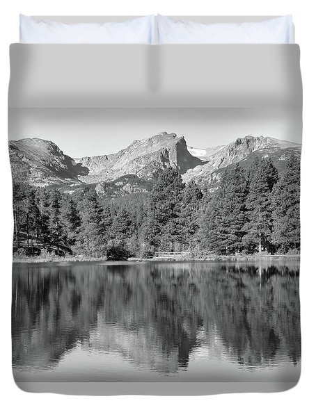 Duvet Cover featuring the photograph Black And White Sprague Lake Reflection by Dan Sproul