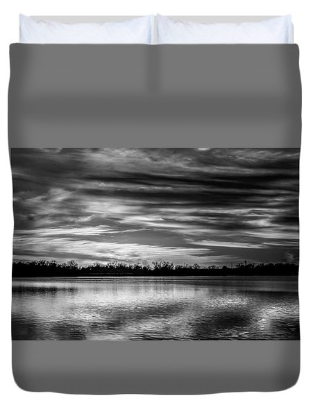 Black And White Sunset Duvet Cover by Doug Long