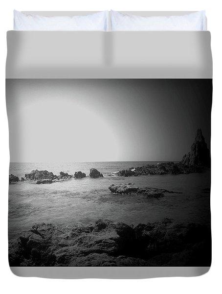 Black And White Sunset In Spain Duvet Cover