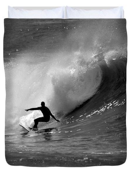 Black And White Surfer Duvet Cover