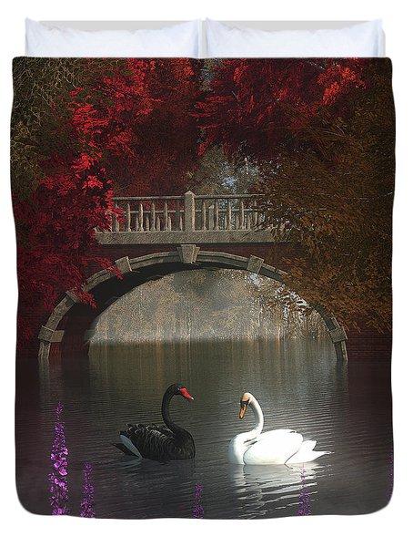 Black And White Swans Duvet Cover