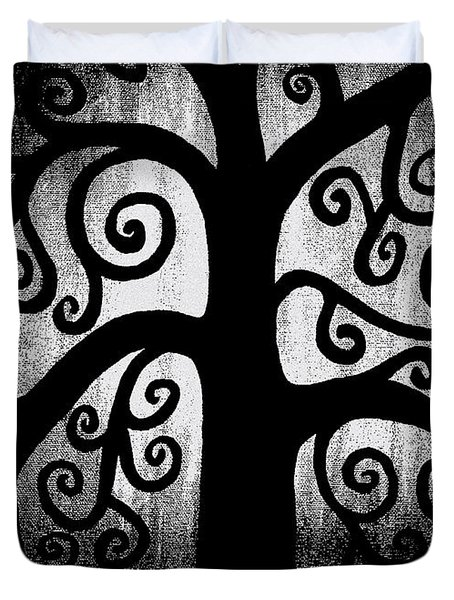 Black And White Tree Duvet Cover by Angelina Vick