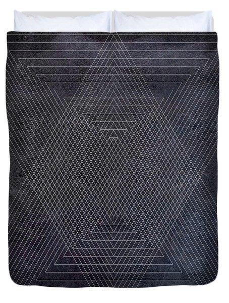 Black And White Triangular Line Art Duvet Cover by Brandi Fitzgerald