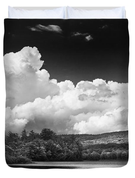 Black And White Vienna Maine Flying Pond With Storm Clouds Fine Art Print Duvet Cover