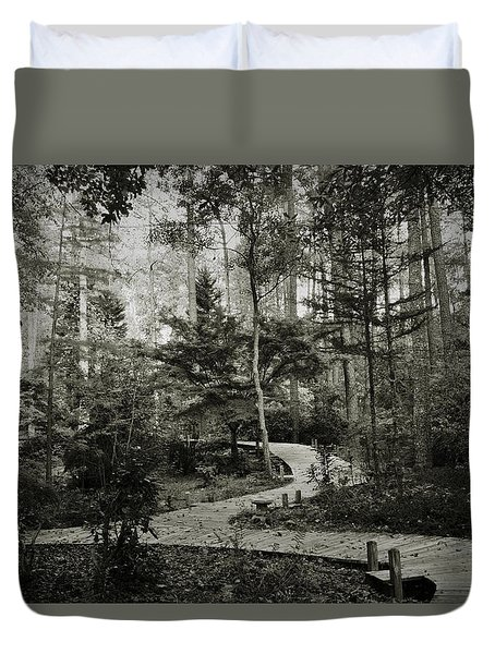 Black And White Vintage Edit -walk In Peace  Duvet Cover