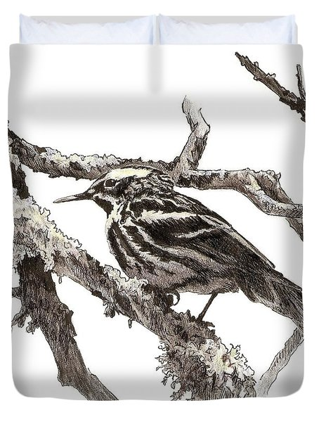 Black-and-white Warbler Duvet Cover