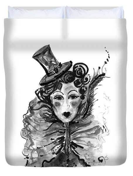 Duvet Cover featuring the mixed media Black And White Watercolor Fashion Illustration by Marian Voicu