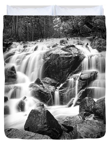 Black And White Waterfall In Lee Vining Canyon Duvet Cover