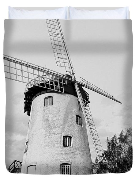 Black And White Windmill Duvet Cover