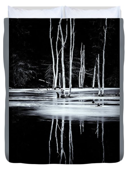 Black And White Winter Thaw Relections Duvet Cover by Tom Singleton