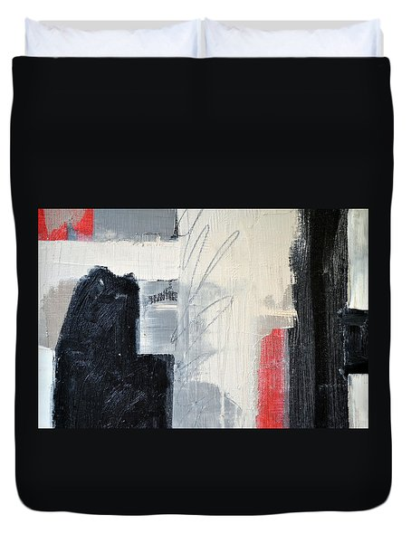 Duvet Cover featuring the painting Black And White With Lines by Michelle Calkins