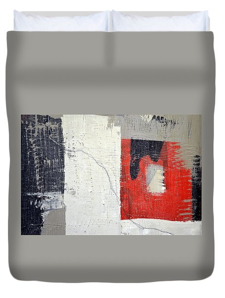 Duvet Cover featuring the painting Black And White With Red Box by Michelle Calkins