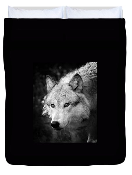 Black And White Wolf Duvet Cover by Steve McKinzie