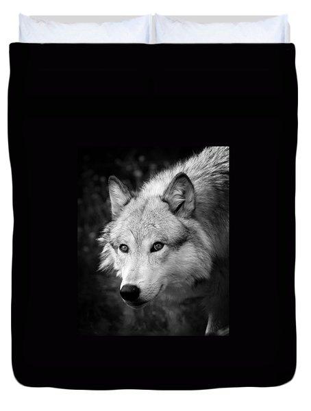 Black And White Wolf Duvet Cover