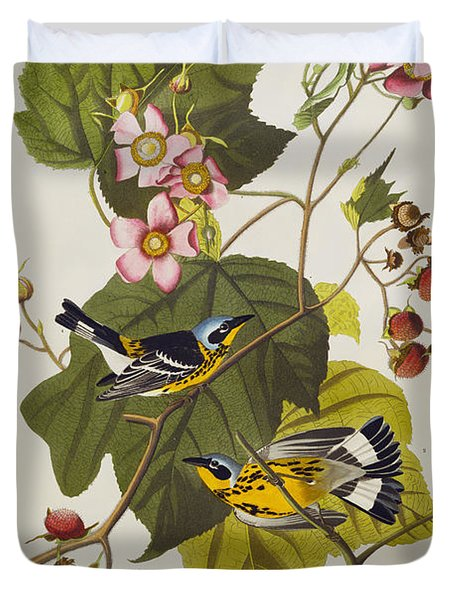 Black And Yellow Warbler Duvet Cover