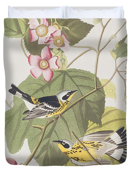 Black And Yellow Warblers Duvet Cover by John James Audubon