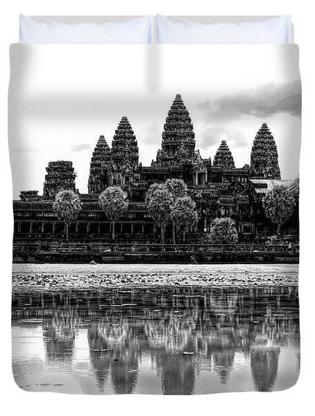 Black Angkor Wat Cambodia  Duvet Cover