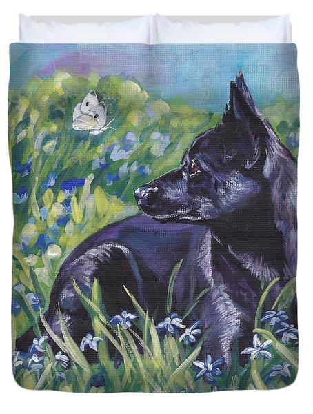 Black Australian Kelpie Duvet Cover by Lee Ann Shepard