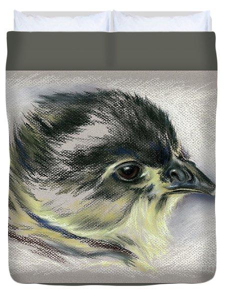 Black Australorp Chick Portrait Duvet Cover