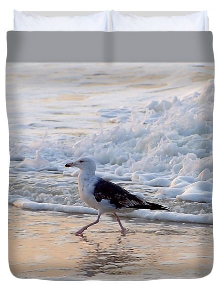 Duvet Cover featuring the photograph Black-backed Gull by  Newwwman