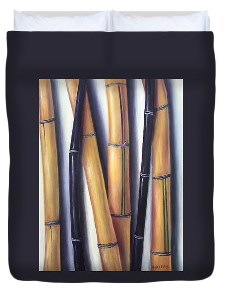 Duvet Cover featuring the painting Black And Gold Bamboos by Randol Burns