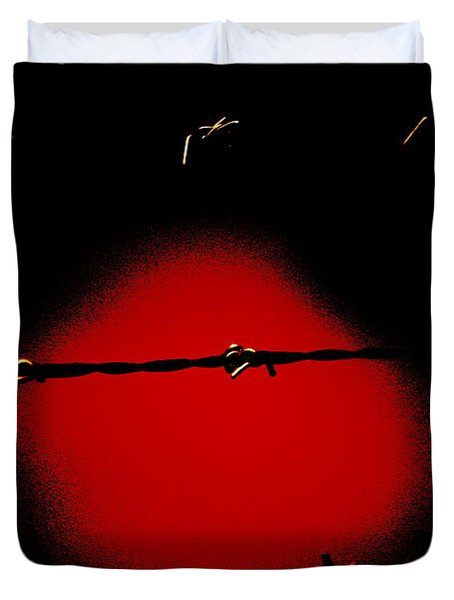 Black Barbed Wire Over Black And Blood Red Background Eerie Imprisonment Scene Duvet Cover