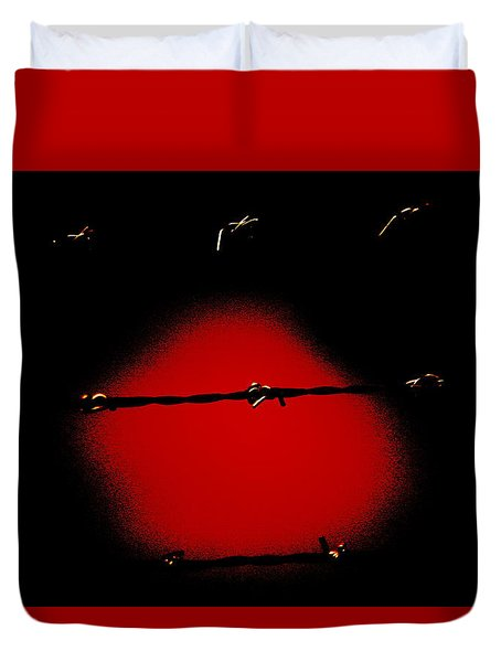 Black Barbed Wire Over Black And Blood Red Background Eery Imprisonment Scene Duvet Cover