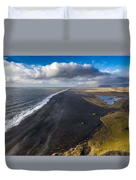 Duvet Cover featuring the photograph Black Beach by James Billings