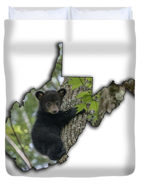Black Bear Cub Climbing Down A Tree Duvet Cover