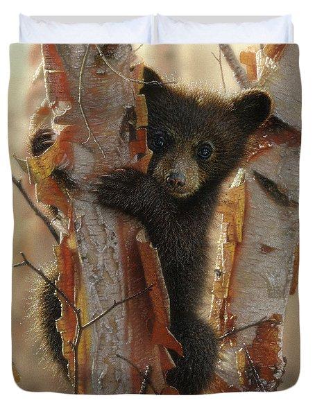 Black Bear Cub - Curious Cub II Duvet Cover