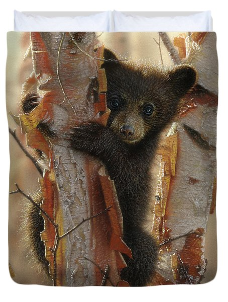Black Bear Cub - Curious Cub II Duvet Cover