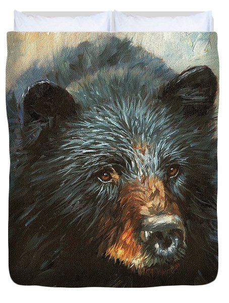 Duvet Cover featuring the painting Black Bear by David Stribbling