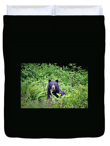 Black Bear Eating His Veggies Duvet Cover