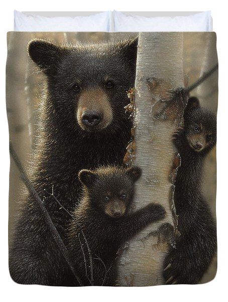 Black Bear Mother And Cubs - Mama Bear Duvet Cover