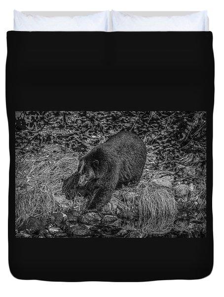 Black Bear Salmon Seeker Duvet Cover